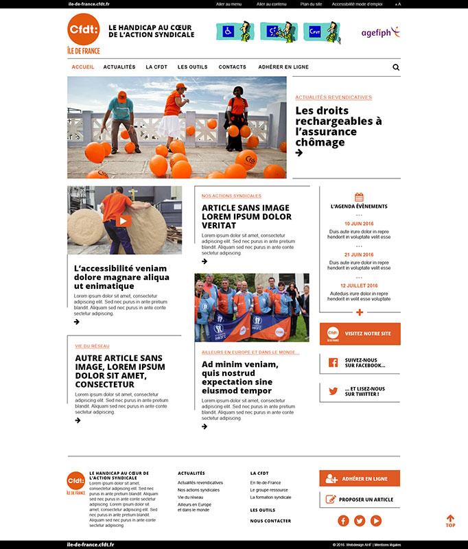 Page d'accueil du blog CFDT Ile-de-France Handicap