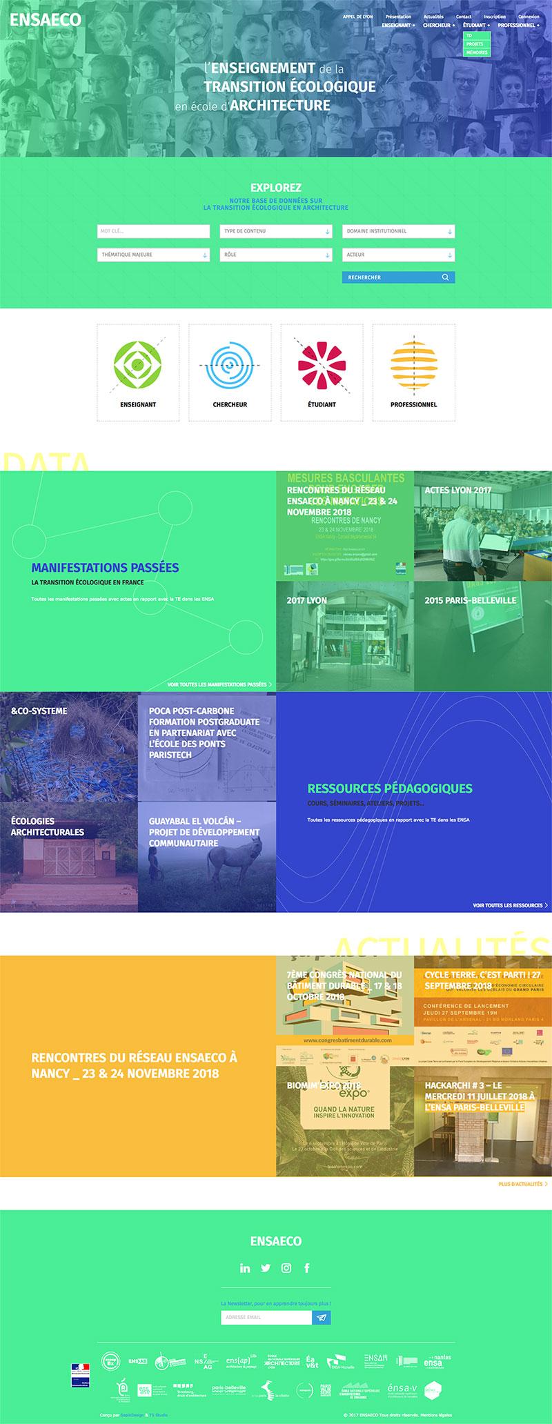 Page d'accueil du site ENSAECO