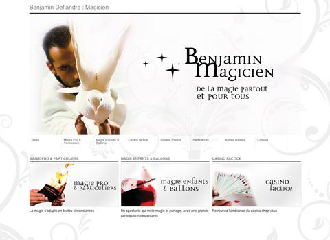 Page d'accueil du site Benjamin Deflandre : Magicien