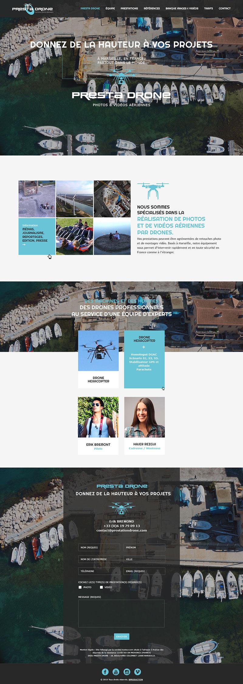 Page d'accueil du site Prestadrone